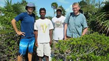 Tom Heap with Mark Parrish (far left) and the team studying rock iguanas.