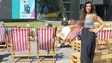 Noreen enjoying the sun at Pacific Quay, Glasgow