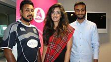 Games volunteer Anuj Choudhary and Commonwealth Tartan designer Amir Meymood