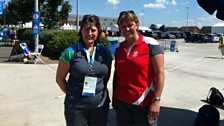 """Our own """"Clydesider"""" Nicky Price meets a fellow Commonwealth Games volunteer"""