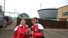 Nicky meets a fellow volunteer at the Games