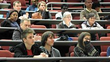 Audience members at the Democracy and the Arts recording