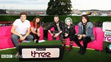 Paramore in the BBC Three studio