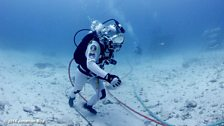 NASA astronaut trains underwater as part of the NEEMO project.
