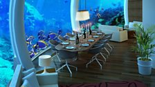 View of Classic Living Room, from H2OME, the first underwater house of the world by Michael Schutte and brilliantboats.