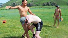 Peter Geoghegan practising moves