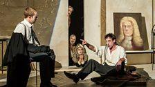 l-r: Johnny Herford (Josef K), Paul Curievici (Titorelli). In doorway top-bottom: Amanda Forbes, Michael Bennett, Rowan Hellier