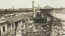 The grandstand at Hurst Park racecourse in Surrey, burned down by Kitty Marion and Betty Giveen, June 1913