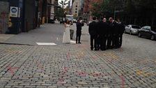 Wedding on Judy Collin's cobbled street.