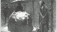 """Honoré Daumier, The Crinoline in Winter """"My fair lady, shall I give you a quick brush?"""" Winter Sketches series, 1858"""