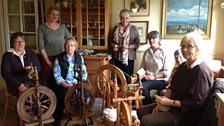 An army of spinners in Debbie Harvey's kitchen near Carlops on the Scottish Borders