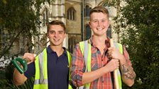 Cathedral gardener Luke Matlock (right) and apprentice Josh Ballard (left)