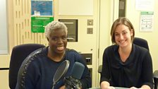 Sara Mohr-Pietsch in the studio with Gospel conductor and workshop leader Karen Gibson