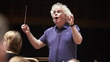 Simon Rattle rehearses the LSO at the Barbican