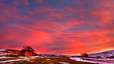 Red sunset at Carrshield Ninebanks