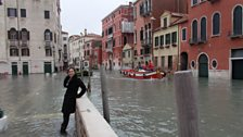 Piazza aqua alta in Venice