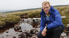 Adam Henson at the crash site of a Lancaster bomber from World War II.