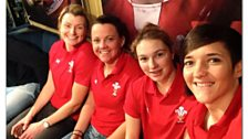 The ladies from Wales Women in the Scrum V Studio