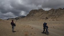 The producer/director and soundman capturing some footage of the Gobi Desert