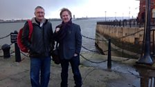 "Paul talks to Tony Crowley, author of 'Scouse:A Cultural History"" on the banks of the River Mersey"
