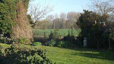 Sandra's back garden looking over fields in Filby