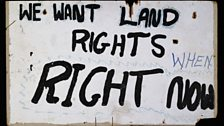 We Want land rights. When. Right now. Land rights placard frm the aboriginal Tent embassy, erected as a site of protest in 1972