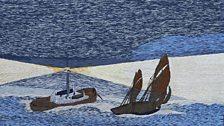 Lighthouse ship, John Craske 1881-1943, embroidery (detail),
