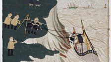 Rescue by Breeches Buoy embroidery (detail), John Craske 1881-1943, The Sylvia Townsend Warner Collection