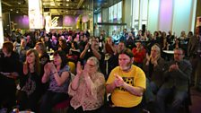 Audience in Pacific Quay foyer