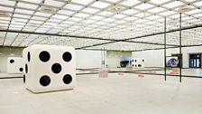 Carsten Höller, Dice, 2014, Half Mirror Room, 2008, 2015, and Snake, 2014
