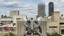 Carsten Holler, Isomeric Slides, during installation at Hayward Gallery