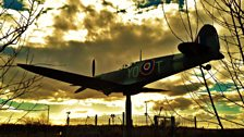 Spitfire in Thornaby sunset