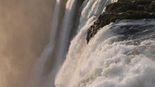 During the rainy season, Victoria Falls is the greatest curtain of falling water on the Earth (8000 tonnes per second)
