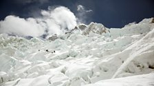 Khumbu Icefall is the most notorious glacier, presenting climbers with a maze of ice blocks which can collapse at any moment