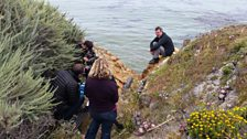 Hugh Fearnley-Whittingstall and the production team pick a nice spot for filming in Monterey, California
