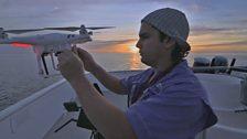 Drone and pilot Manolo Mendieta