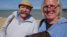 Dick with local historian Stuart Smith find a piece of a secret weapon designed to set Britain's seas on fire