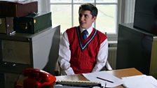 Journalist Allan Herron, was ghost-writer for Jim Baxter's column. Here he is played by Sammy Mackintosh