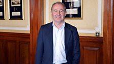 Presenter Alex O'Henley preparing to record a programme link