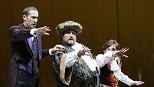 Filippo (Vito Priante), Don Pomponio (Nicola Alaimo) & Tommasino (Ernesto Lama) in La gazzetta at the Rossini Festival, Pesaro