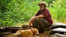 Brent Shock takes a break from gold prospecting near Jamestown, California