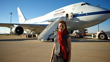 Helen stands in front of NASA's SOFIA observatory – a flying infrared telescope