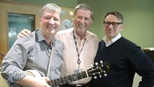 Glenn Tilbrook and Chris Difford pose with Sir Terry Wogan