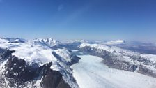 The view from Joe Drury's plane as he flies over Greenland