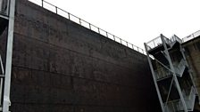The huge door at the bottom of the dry dock