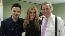 Shane Filan and Nadine Coyle pictured with Sir Terry