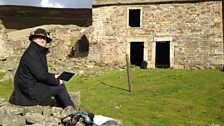 David Almond working on the programme outside Crackpot Hall