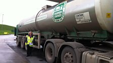 The tanker containing the milk from Alkerton Green Farm arrives at Westbury Dairies