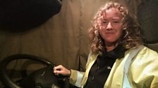 Jenny Tipping from Southampton works nights driving her articulated truck across the UK