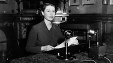 The Queen broadcasting her first Christmas message in 1952.